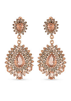 Carolee Rose Gold-Tone Pocket Park Teardrop Chandelier Clip Earrings