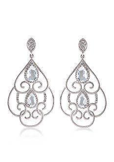Carolee Silver-Tone The Cloisters Clear Crystal Openwork Clip Earrings