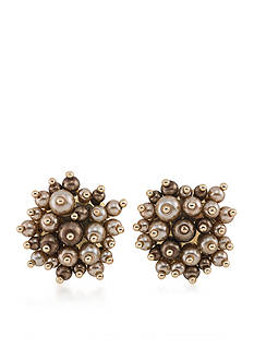 Carolee Gold-Tone Metropolitan Club Button Earrings