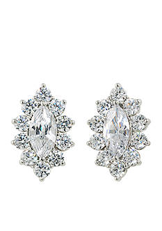 Carolee Silver-Tone Marquee Button Earrings