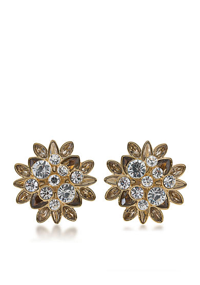 Carolee Gold-Tone Metropolitan Club Stone Cluster Earrings