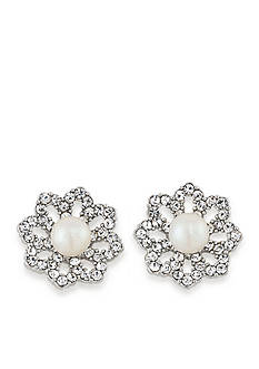 Carolee Silver-Tone Icing On The Cake Clip-On Earrings