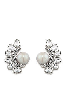 Carolee Silver-Tone Grand Entrance Pearl Cluster Clip Earrings