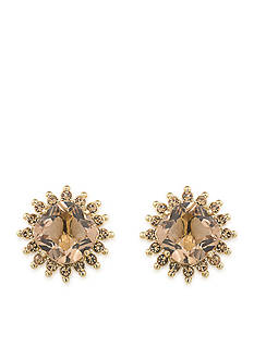 Carolee Gold-Tone Clipped to Perfection Button Clip Earrings