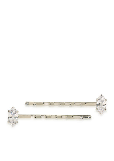 Carolee Silver-Tone Marquee Solitaire Stone Hair Pins