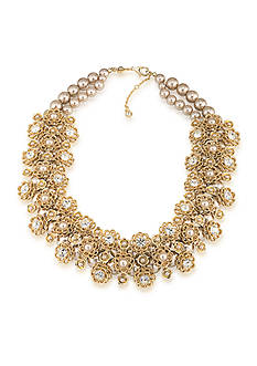 Carolee Union Square Suede Pearl Statement Frontal Necklace