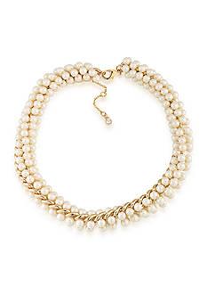 Carolee Union Square White Pearl Choker Necklace