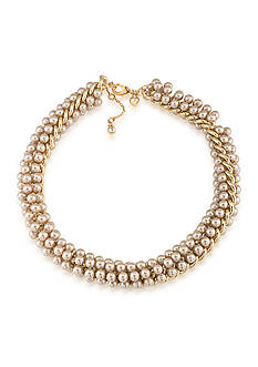 Carolee Union Square Suede Pearl Choker Necklace