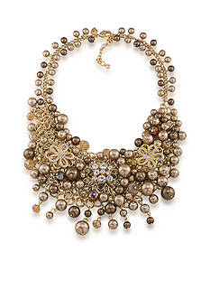 Carolee Gold-Tone Metropolitan Club Cluster Statement Necklace