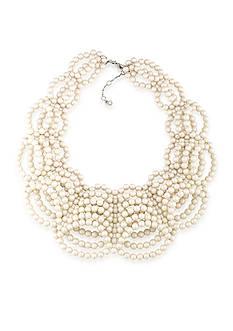 Carolee Silver-Tone 21 Club Pearl Collar Necklace
