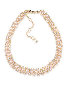 Carolee Gold-Tone Pink Champagne Choker Necklace