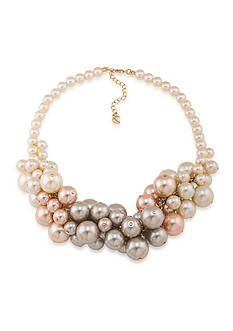 Carolee Gold-Tone Pink Champagne Cluster Necklace