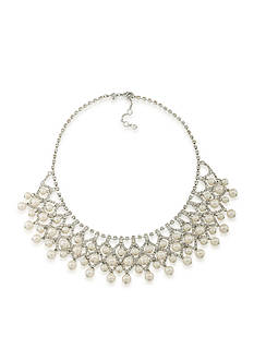 Carolee Silver-Tone Grand Entrance Faux Pearl Statement Necklace