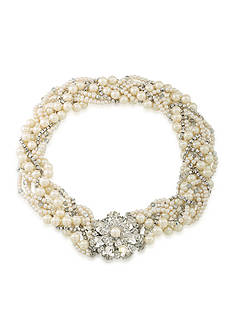 Carolee Silver-Tone Grand Entrance Pearl Woven Statement Necklace