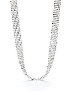 Carolee Limited Edition Silver-Tone 5 Row Rhinestone Choker Necklace