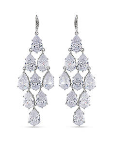 Carolee Upper East Side Clear Crystal Kite Chandelier Pierced Earrings