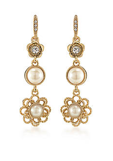 Carolee Union Square White Pearl Linear Pierced Earrings