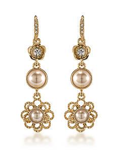 Carolee Union Square Suede Pearl Linear Pierced Earrings