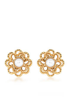 Carolee Union Square White Pearl Stud Pierced Earrings