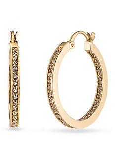 Carolee Gold-Tone Columbus Circle Hoop Earrings