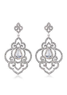 Carolee Silver-Tone The Cloisters Clear Crystal Openwork Chandelier Earrings