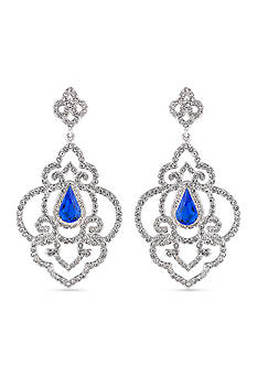 Carolee Silver-Tone The Cloisters Blue Crystal Openwork Chandelier Earrings