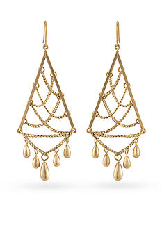 Carolee Gold-Tone Riverside Park Chandelier Earrings