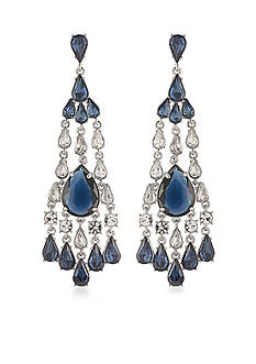 Carolee Silver-Tone New York Star Statement Chandelier Earrings
