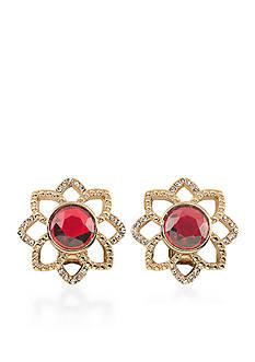 Carolee Gold-Tone Big Apple Stud Earrings