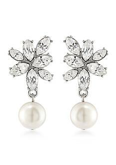 Carolee Silver-Tone Waldorf Cluster Drop Earrings