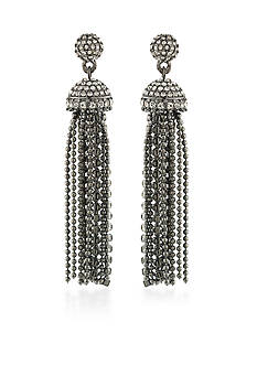Carolee Hematite-Tone Gotham Tassel Drop Earrings