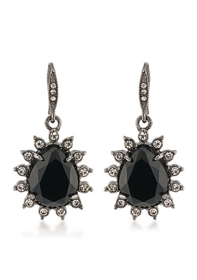 Carolee Gotham Hematite Drop Pierced Earrings