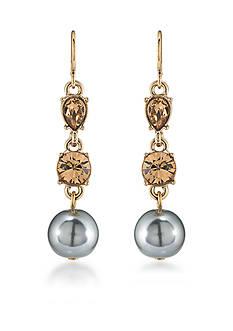 Carolee Gold-Tone West Side Triple Drop Pierced Earrings