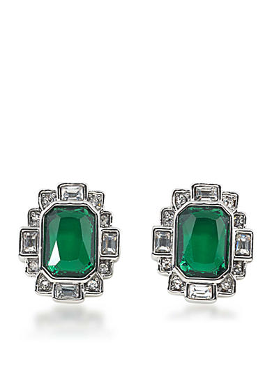 Carolee Wall Street Silvertone Emerald Stud Pierced Earrings