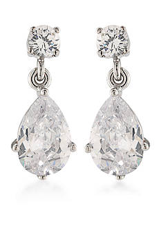 Carolee East Side Silver-Tone Pear Drop Earrings