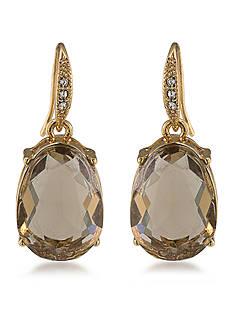 Carolee Gold-Tone Nine to Five Topaz Drop Earrings