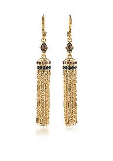 Carolee Gold-Tone Nine to Five Tassel Drop Linear Earrings