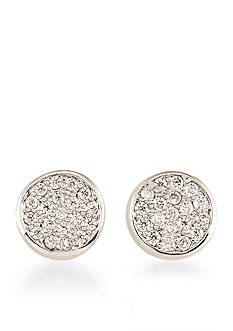 Carolee Silver-Tone East Side Pave Stud Pierced Earrings