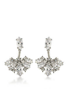 Carolee Silver-Tone Marquee Front Back Earrings