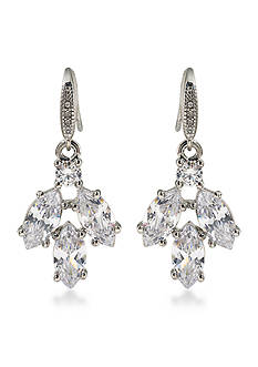 Carolee Silver-Tone Marquee Cluster Drop Earrings