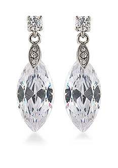 Carolee Silver-Tone Marquee Stone Drop Earrings