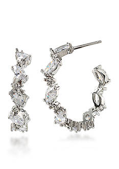 Carolee Silver-Tone Marquee Hoop Earrings