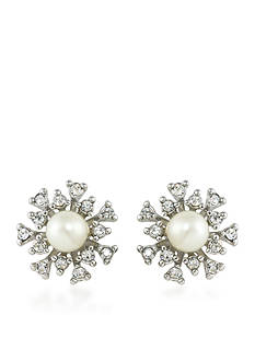 Carolee Silver-Tone 21 Club Crystal Burst Stud Earrings