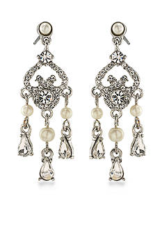 Carolee Silver-Tone 21 Club Mini Chandelier Earrings