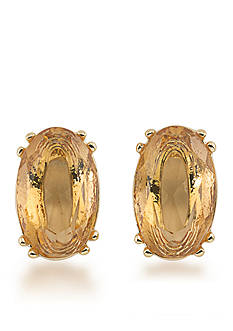 Carolee Gold-Tone Cosmopolitan Club Topaz Stud Pierced Earrings