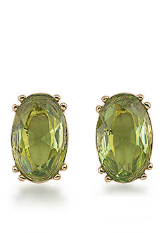 Carolee Gold-Tone Cosmopolitan Club Green Stud Pierced Earrings