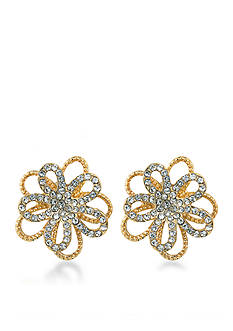 Carolee Gold-Tone Metropolitan Club Flower Button Earrings
