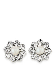 Carolee Silver-Tone Icing On The Cake Button Pierced Earrings