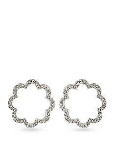 Carolee Feminine Glam Pave Scalloped Hoop Earrings