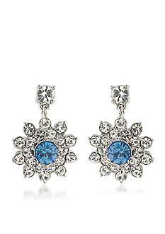 Carolee Something Blue Cluster Drop Pierced Earrings